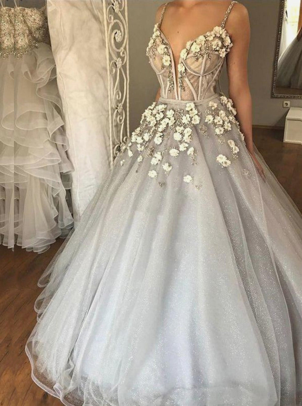 2019 Sparkly Dusty Silver 3D Floral Prom Dress, Ball Gown Wedding Dress OW342