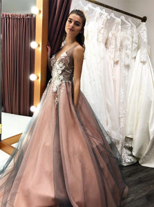 Tulle Long Prom Wedding Dress With Beading Floral Appliques OP450
