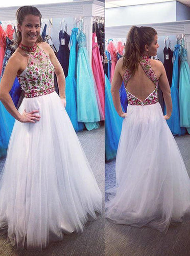 White Long Prom Dress High Neck Open Back With Floral Applique OP424