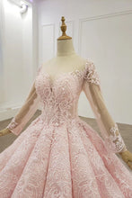 Sheer Neck Ball Gown Long Sleeves Blushing Pink Prom Dress PO325