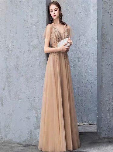 Charming A-Line Short Sleeves Tulle Prom Dresses Long Evening Gown With Beading PO349