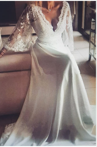 A Line Long Sleeves V Neck Wedding Dresses Beach Bridal Dress OW703
