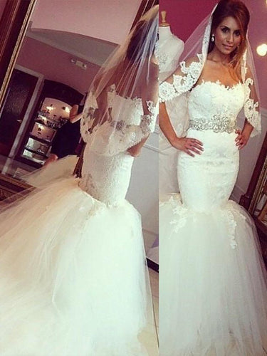 Strapless Mermaid Lace Sweetheart Tulle Court Train Wedding Dresses