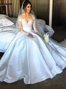 Charming Long Sleeves Court Train Satin Ball Gown Wedding Dresses OW303