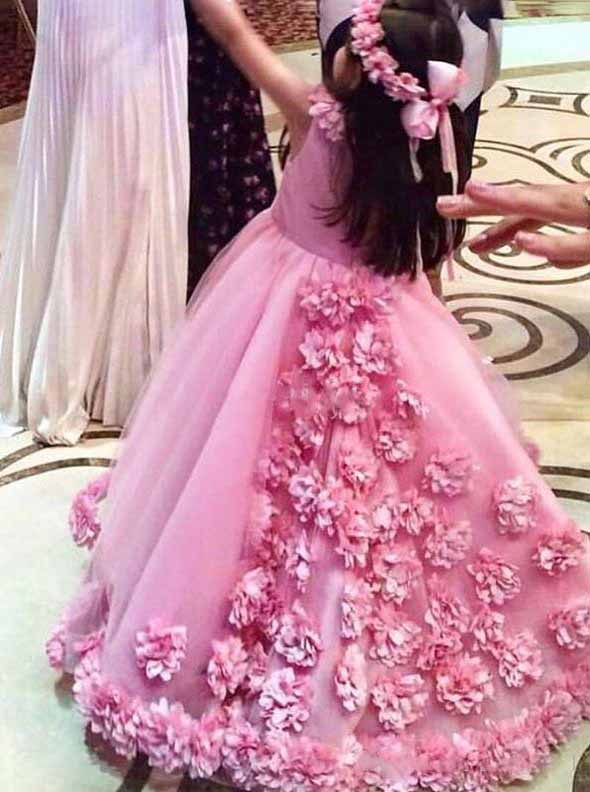 Cute Jewel Neck Ball Gown Hot Pink Flower Girls Dresses With 3D Floral Appliques OF128