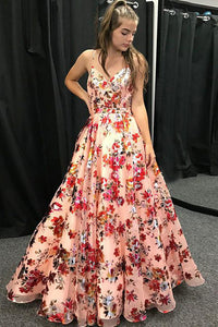 Spaghetti Straps V-neck Floral Print Long Prom Formal Dress OP838