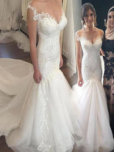 Trumpet/Mermaid Straps Lace Bodice Tulle Chapel Train Wedding Dresses OW280