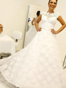 Lace Scoop Floor-Length Ball Gown Wedding Dresses With Applique OW304