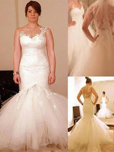 Trumpet/Mermaid Straps Organza Floor-Length Plus Size Wedding Dresses OW281