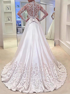 Long Sleeves A-Line/Princess V-neck Satin Wedding Dresses With Bowknot OW305