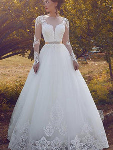 Long Sleeves Sheer Bateau Neckline Ball Gown Tulle Floor-Length Wedding Dresses OW306
