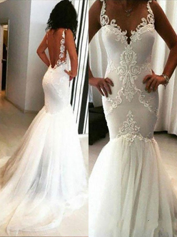 Trumpet/Mermaid Spaghetti Straps Tulle Backless Wedding Dresses ...