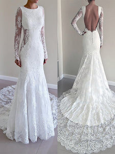 Long Sleeves Trumpet/Mermaid Scoop Lace Backless Wedding Dresses OW287