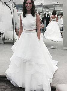 Modest A-Line/Princess Bateau Chiffon Ruffles Two Piece Wedding Dresses OW300