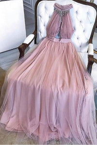 A-line Dusty Pink High Neck Prom Dresses Long Beading Formal Dress OP836