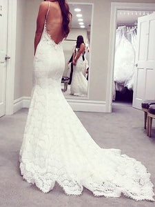 Spaghetti Straps Trumpet/Mermaid Lace Backless Wedding Dresses OW285