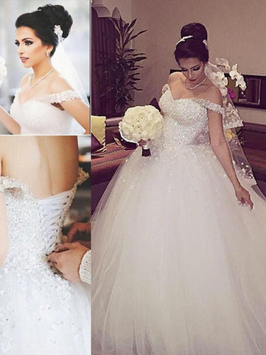 Sleeveless Beading Off-Shoulder Court Train Ball Gown Lace Up Tulle Wedding Dresses OW125