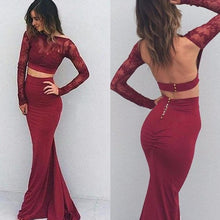 Burdungy Trumpet/Mermaid Bateau Satin Long Sleeves Two Piece Backless Prom Dresses, OP111