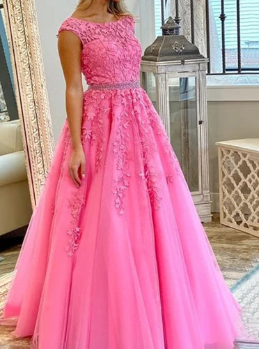 Long Prom Dresses with Applique and Beading Light Plum Graduation Dress PO371
