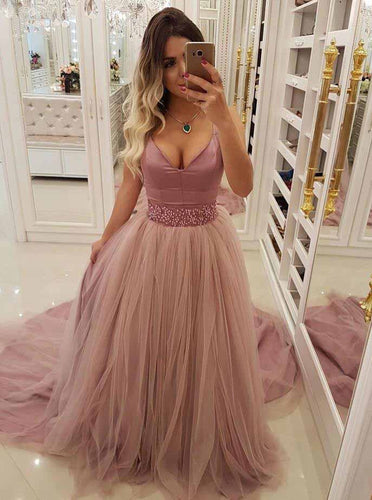 A Line V-neck Beaded Waist Prom Dresses with Overlay Tulle Skirt OP766