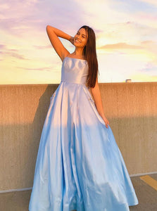 Light Blue Long Prom Dress with Beaded Pockets, Long Formal Graduation Dresses PO408