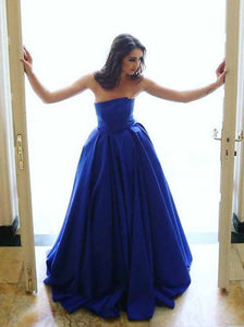 Royal Blue Strapless Puffy Prom Dresses Satin Elegant Formal Gown OP768