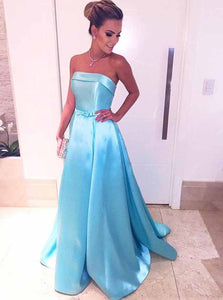 Ice Blue Strapless Prom Dresses Satin Long Evening Dresses with Waist Bow OP767