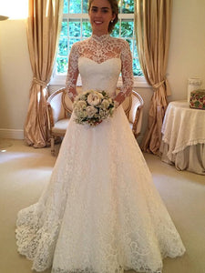 Lace Neck Long Sleeves Ball Gown Court Train Vintage Wedding Dresses OW124