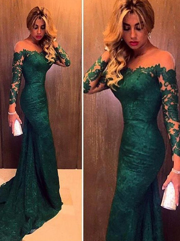 Long Sleeves Off the Shoulder Green Trumpet/Mermaid Lace Prom Party Dresses, OP112