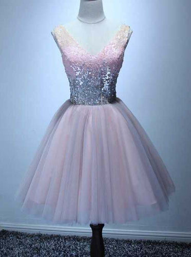 Cute A-line V-neck Pink Sweet 16 Dress, Sequins Short Homecoming Dress OM448