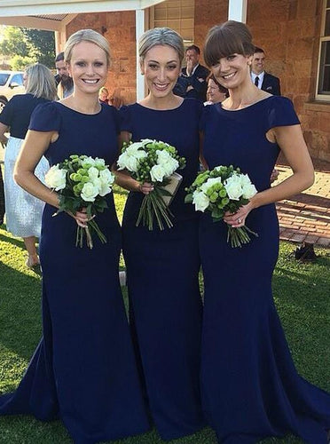 Modest Dark Blue Bridesmaid Dresses Mermaid Round Neck With Cap Sleeves OB223