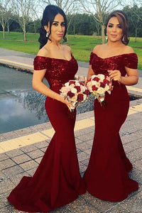 Off Shoulder Mermaid Dark Red Bridesmaid Dresses with Sequins OB224