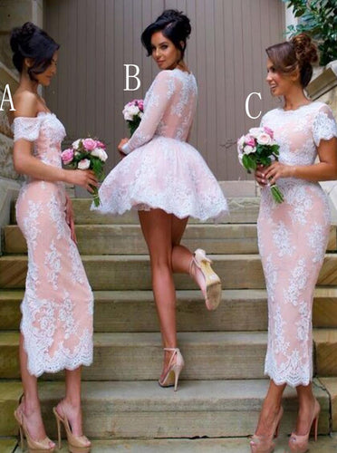 Mismatched Bridesmaid Dresses A/B/C Lace Short Bridesmaid Dresss OB227