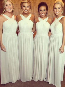A-Line Cross Neck Ivory Chiffon Long Bridesmaid Dresses with Pleats OB233