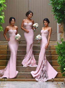 Spaghetti Straps Mermaid Pink Bridesmaid Dresses with Lace Appliques OB226