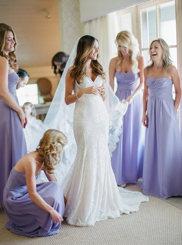 A-Line Sweetheart Lavender Chiffon Beach Bridesmaid Dresses with Ruched OB235