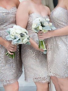 Sweetheart Above-Knee Lace Sheath Short Bridesmaid Dresses OB229
