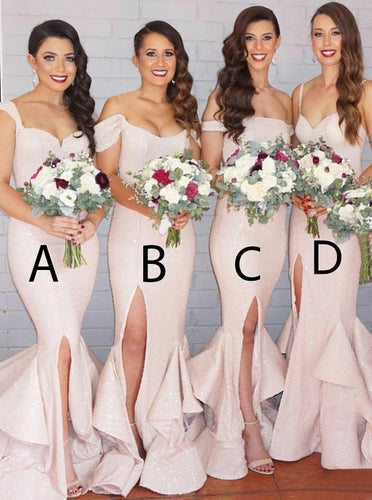 Sparkly Mermaid Pearl Pink Sequined Bridesmaid Dresses with Ruffles OB225