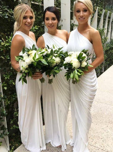 One-Shoulder Floor-Length Sheath Bridesmaid Dresses with Ruched OB236