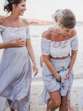 Off-Shoulder Ankle-Length Two Piece Beach Bridesmaid Dresses with Lace OB238