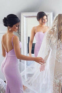 Spaghetti Straps Mermaid Lilac Backless Bridesmaid Dresses with Pleats OB239