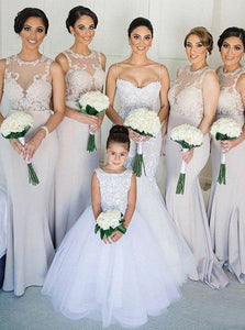 Mermaid/Trumpet Jewel Bridesmaid Dresses with Appliques OB240