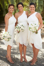 One-Shoulder Knee-Length Ruched Chiffon Bridesmaid Dresses OB241