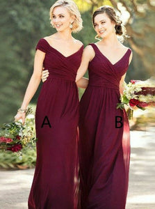 Sheath Off-the-Shoulder Burgundy Long Bridesmaid Dresses OB242