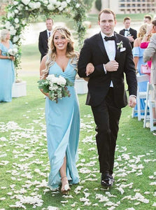Sheath V-Neck Floor-Length Blue Bridesmaid Dresses with Split OB246