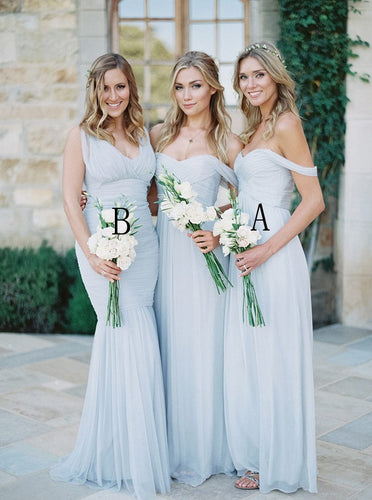 Off-Shoulder Floor-Length Dusty Blue Chiffon Bridesmaid Dresses OB248