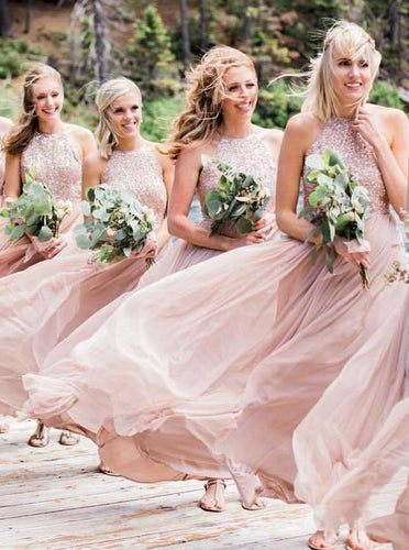 A-Line Jewel Blush Pink Flowy Chiffon Bridesmaid Dresses with Sequins OB250