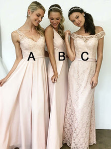 A-Line V-Neck Floor-Length Bridesmaid Dresses with Lace OB275