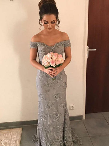 Sheath Off-the-Shoulder Lace Appliques Grey Bridesmaid Dress OB252