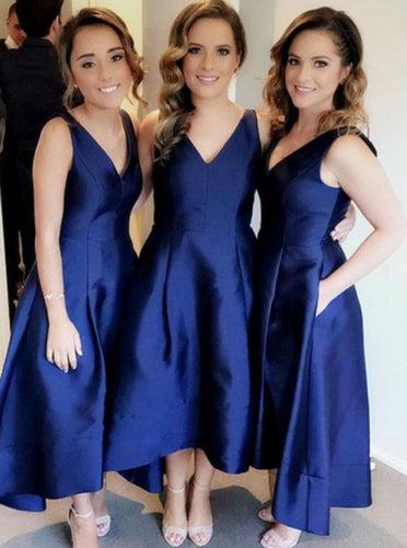 A-Line V-Neck Asymmetry Royal Blue Bridesmaid Dresses with Pockets OB313
